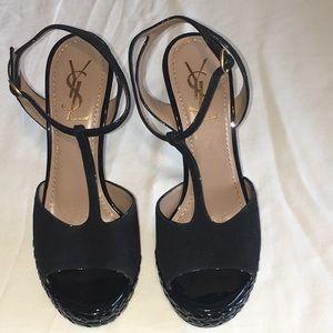YSL Tribute T-Strap Heel Sandals Size 39